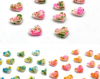 Heart cabochons, painted effect, set of 15