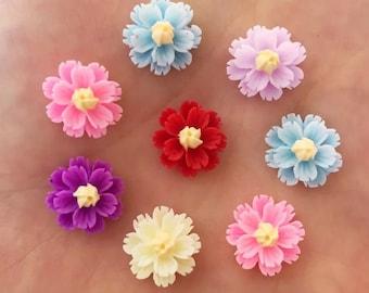Flower cabochons, resin set of 20