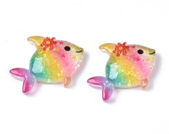 Fish resin embellishments, 23mm, set of 5