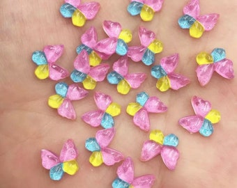 Butterfly resin embellishments, 10mm  three colour