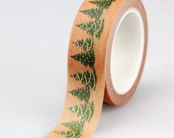 Christmas tree brown paper washi, 10m