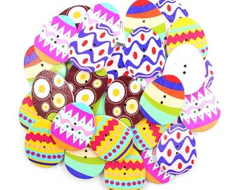Wooden egg buttons, bright set of 10