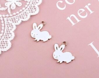Rabbit enamel charms x 2
