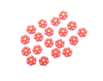Pink 9mm flower cabochons