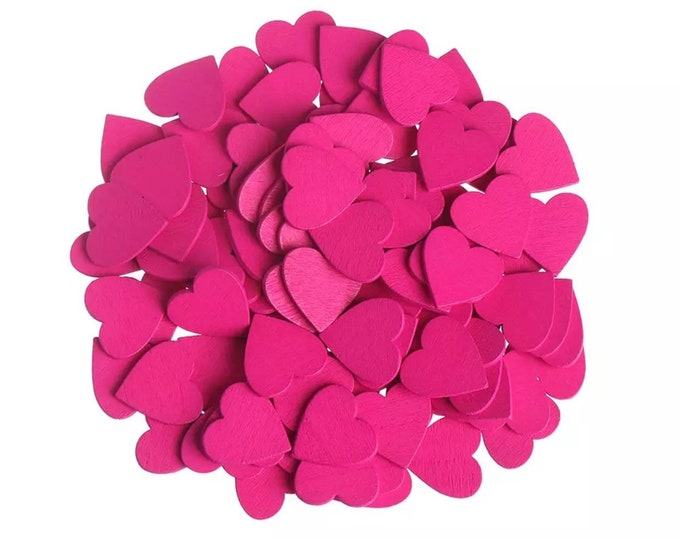 Featured listing image: Pink wooden hearts, 18mm rose pink
