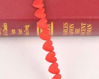 Red heart ribbon, 15mm polyester