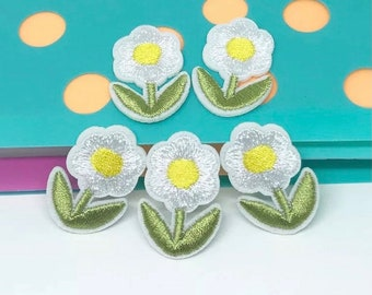 White Flower iron on patches