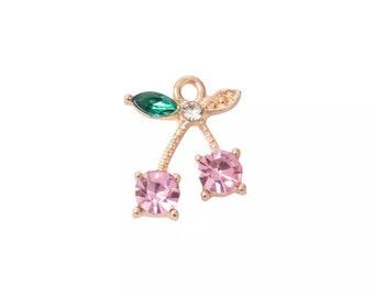 Cherry rhinestone charm, pink x 2
