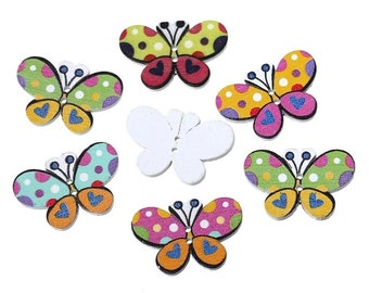 Butterfly wooden buttons, set of 10
