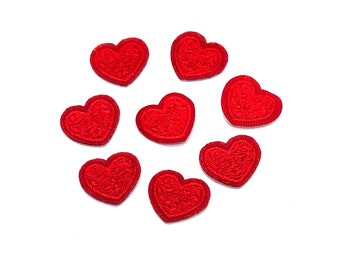Mini red heart patches x 4