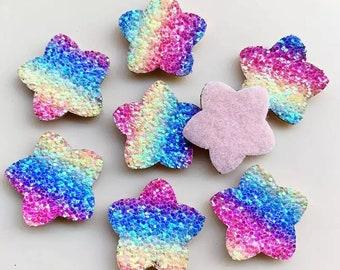 Glitter star patches x 2, rainbow star