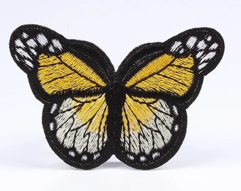 Yellow embroidered butterfly patch