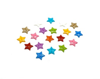 Star buttons, 19mm set of 12
