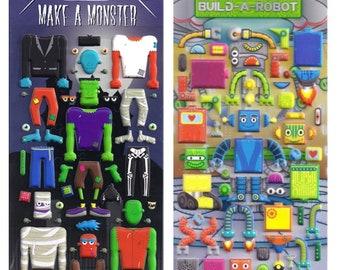 Robot and Monster Sticker Sheet Set, boys stickers, kids craft stickers