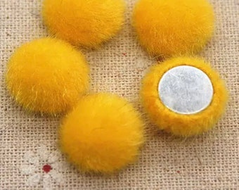 Fluffy round embellishments, yellow 16mm