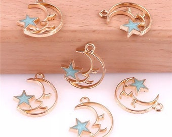 Moon and star Charm x2