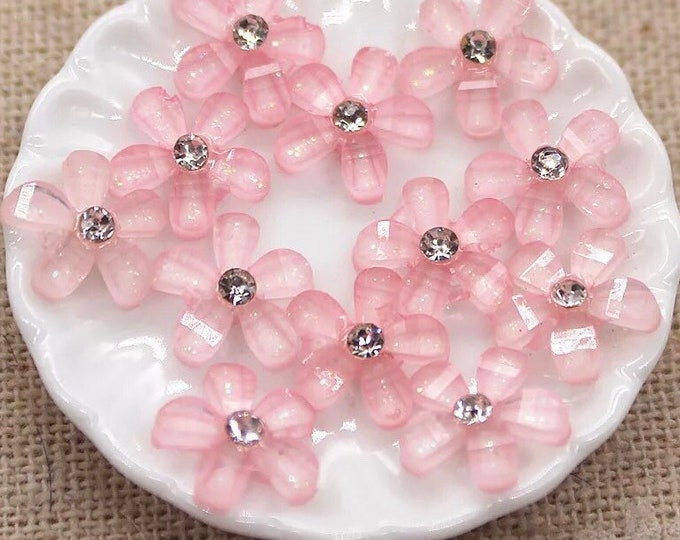 Featured listing image: Pink resin flower cabochon, rhinestone centre