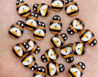 Bee resin cabochons, 13mm warm yellow