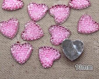 Glitter heart embellishments, pink 13mm