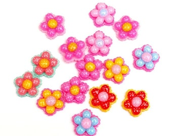 Flower cabochons, bright mix, set of 15