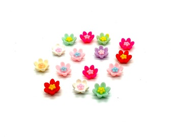 Bright flower cabochons set of 15