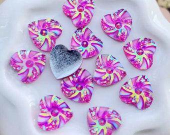 Rhinestone pink heart cabochons, 10mm