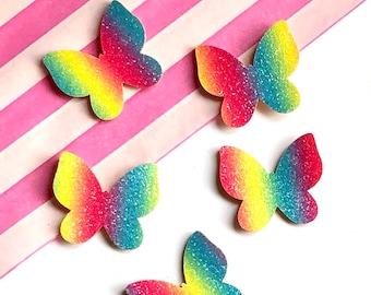 Butterfly rainbow felt patches x2