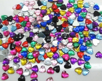 Heart shaped craft embellishments, mixed colours, set of 50