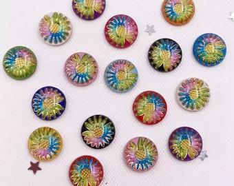 Round floral cabochon, 10mm mix colour