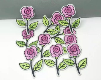 Pink rose flower iron on patches x 2