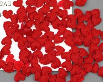 Heart shaped red felt fabric embellishments, 17mm