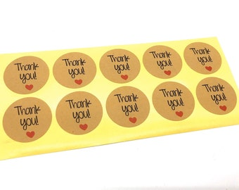 Thank you craft stickers, set of 20 stickers
