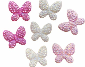 Pink mix resin butterfly cabochons