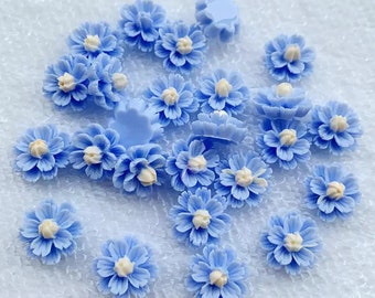 Blue flower cabochons, 13mm