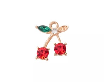 Cherry rhinestone charm x 2