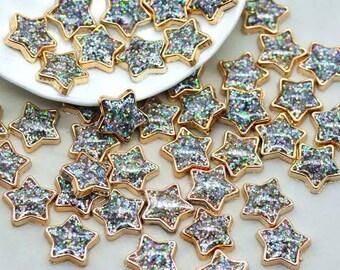 Glitter star cabochon, silver 12mm