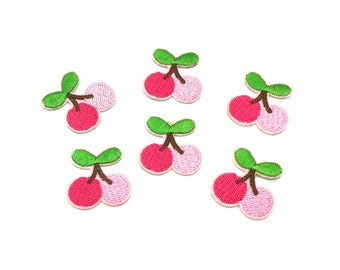 Cherry embroidered patch x 2