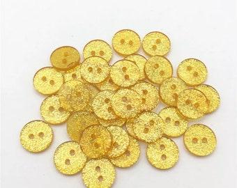 Gold buttons, 13mm glitter resin button,