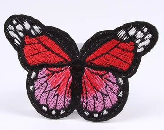 Red embroidered butterfly patch