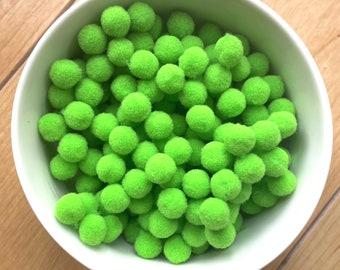 Pom Poms, bright light green mini pom poms, 9mm
