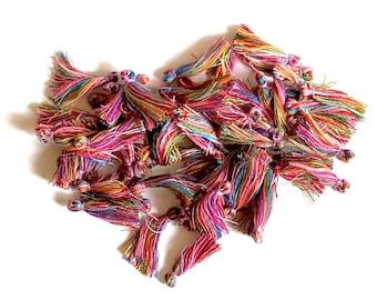 Mini tassels, multicoloured, set of 20