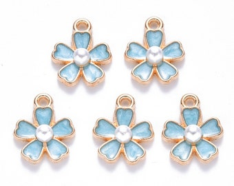 Blue enamel and pearl flower charms