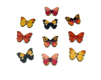Wooden butterfly buttons, set of 12