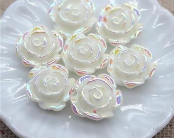 White rose flower cabochon, 10mm resin