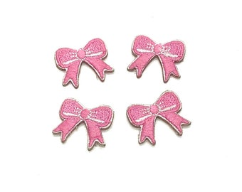 Mini bow embroidered patch x 4