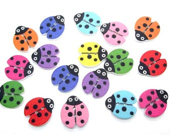 Ladybird wooden buttons, mixed colour set of 15