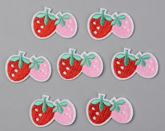 Strawberry iron on patches, double strawberry