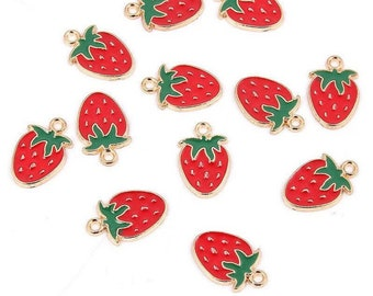 Strawberry enamel charms x 2