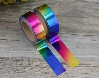 Rainbow foil washi tape roll