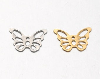 Butterfly charms silver or gold tone